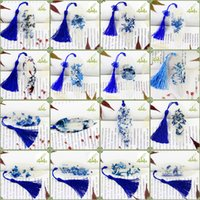 Wholesale 10 Style Chinese Blue And White Bookmark Natrueal Leaf Veins Book Mark Unique Great Christmas Gift Book Accessories