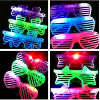 Wholesale 100pcs HOT LED Light Glasses Flashing Shutters Shape Glasses Flash Glasses Sunglasses Dances Party Supplies Festival Decoration D603