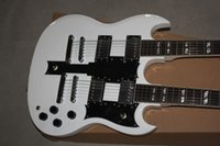 Cheap GB S.G model electric guitar,double neck guitar,rosewood fretboard,ivory white guitar