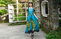 animal empire - summer fashion elegant female peacock print bohemian sleeveless Bohemian dress maxi dress Ombre flowers sexy long dress blue sent belt XL