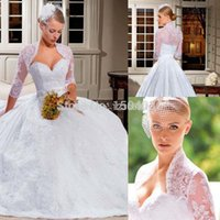Cheap Casamento New Arrival 2015 Custom made Ball gown wedding dress Lace Sweetheart Sexy Jacket Long sleeve Sexy wedding gown