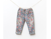 Cheap baby girl kids vintage cotton rose flower Jeans flower legging floral Jeans pants legging tights Denim pants pajamas