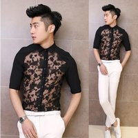 Wholesale 2016 Lace breathable men s fifth sleeve chiffon shirt summer England five points sleeve shirt sexy hair stylist