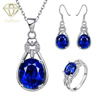 Wholesale New Arrival Austrian Crystal Wedding Jewelry Sets K Rose White Gold Plated Water Drop Earrings Rings Necklaces