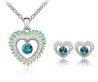 Wholesale Heart shaped necklace earrings multicolor crystal fashion creative European and American fashion simple jewelry set YP1812