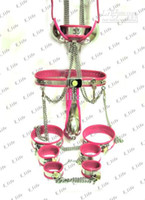 chastity device handcuff - Male T type Chastity Belt BDSM Chastity Device with Cock Cage Urethral Collar Handcuffs Thigh Cuffs Ankle Cuffs Anal Plug Bra