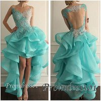Cheap 2015 New Arrival Prom Dresses Noble Lace Sheer Neck Sleeveless Appliques High Low Open Back Prom Dresses for Teens Party Dresses Dhyz