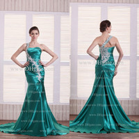 Wholesale 2015 One Shoulder Glamorous Satin Peacock Green Evening Dresses Real Image Sleeveless Mermaid Applique Sweep Train Formal Prom Dress Dhyz