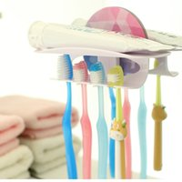 Wholesale Reusable Bathroom Accessories Magic Family Toothbrush Toothpaste Holder Clamps Hooks Stick