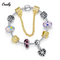 Wholesale Pandora Style DIY Silver Filled Beads Bracelets Heart K Gold Handmake Glass Loose Beads Bracelet Jewelry Christmas Gift