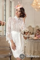 berry covers - 2016 New Berry Style Wedding Dress Long Sleeves Lace Appliques High Neck Button Vestidos Retro Knee Length Wedding Dresses With Sash