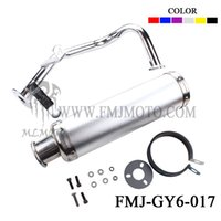 Wholesale FMJ GY6 Chinese Scooter exhaust pipe GY6 cc racing muffler scooter performance muffler SYSTEM FITS JONWAY JMSTAR ROKETA SUNL TANK