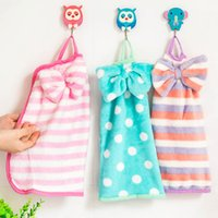 Wholesale A11 bow hanging towel coral velvet cloth kitchen towel super absorbent soft velvet can not afford to