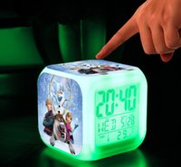 Wholesale 3D cartoon Frozen Digital desk table alarm clock Elsa Anna olaf snowman daily alarms change watch Glowing Clocks with retail box