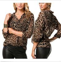 Wholesale Female shirt wild leopard chiffon shirt casual shirt jacket big yards
