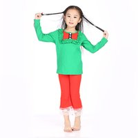 clothing manufacturers - Children Christmas Sets Green Top With Bib Red Pant Mustard Pie Christmas Set Children Clothes Cheap China Clothing Manufacturers