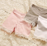 Cheap 3 colors girls summer fashion cotton short leggings lace short leggings for girls lace safety pants shorts baby girl short tights
