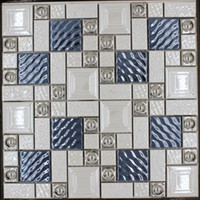 beige porcelain tiles - Popular Metal porcelain mixed mosaic tile blue silver beige white color bar restaurant Living room TV background wall tiles FedEx