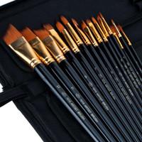 Wholesale Black set Different Shape Nylon Hair Paint Brush Set Wooden Handle Gouache Watercolor Oil Painting Acrylics Art Supplies order lt no t