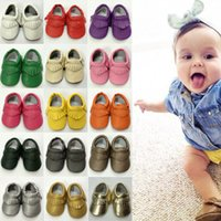 Wholesale Hot Sale Baby Soft Faux Leather Tassel Moccasins Girls Bow Moccs Baby Booties Toddler Solid Colour Tassel Shoes Moccasin PU Pairs