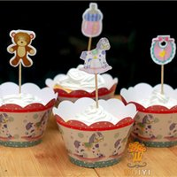 Cheap Free Shipping Feeding-bottle cupcake wrappers&toppers picks decoration birthday party favors supplies(60pcs wraps+60 toppers)