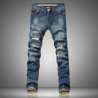 achat en gros de salopettes pour les hommes-Designer Wholesale-New Mens Denim Blue Globalement Ripped Cargo Hip Hop Pantalons Vintage Patchwork Jeans Hommes Hommes personnalisés Crâne