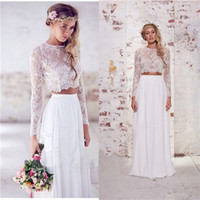 Rhinestone/Crystal two piece wedding dress - 2016 Hot Sale Two Pieces Bohemian Beach Wedding Dresses Chiffon Ruched Floor Length Wedding Gowns Spring Lace Long Sleeve Wedding Dresses