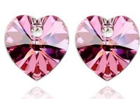 Wholesale Christmas Gift PresentWG E041 Heart Earring Inlay Crystal White Gold Plated Nickel Free Crystal Earrings