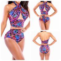 vintage swimwear - 2015 Newest brazilian bikinis set high waisted vintage cross swimming suit for women swimwear bandage bathing suits beachwear YH7028