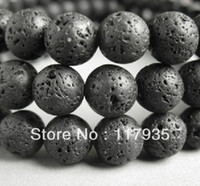 black lava beads - mm round black volcano lava stone fashion beads for jewelry making