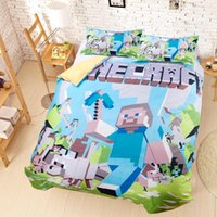 bed sheets - New Minecraft Bedding D Bedding Set Steve Kids Bed Set Twin Full Queen Size Bed In A Bag Duvet Cover Fitted Sheet Flat Sheet Pillow Shams
