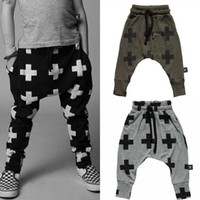 Wholesale 3 colors Baby harem pants cross printed children trouser spring autumn kids costume fashion girls boys harem pants baby clothes