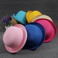Wholesale New Vintage Women Summer Straw Hat Sun Beach Fedora Derby Cloche Cap Solid color Stingy Brim Hats15 Color