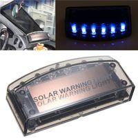 Wholesale New Arrival LED Auto Solar Charger Car Burglar Alarm Warning Blue Light Lamp Sensor Security order lt no track