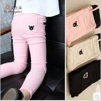 leggings with pockets - 2015Spring Clothing Kids Tights Pants Fashion Cute Korean Girls Leggings Pure colour bear printing Children pants with pockets T198