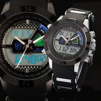wrist watches for men - Digital SHARK Causal Flight Hours Silicone Wristwatch For Men Strap Fun Chronograph Multifunction Quartz Wrist Outdoor Sports Watch SH180