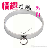 Wholesale new stainless steel bondage male neck collar neck ring sex toys for men chastity devices belt SM419