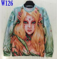 beautiful girl asia - L0101 Mikeal Men Women d Sweatshirt Print Beautiful Spring Scenery Angel Girl Casual Hoodies Green Color Size Asia S XL