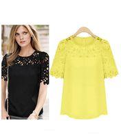 Nueva Tallas Grandes camisas de encaje mujeres ahuecan hacia fuera Blusas Atacado Roupas Femininas 2014 Blusas Ropa