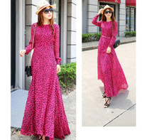 long casual dresses - Bohemian Style Girls Long Dress Autumn Women Falbala Chiffon Long Sleeve Printed Dresses Ladies Sundress Casual Dressy Rose Red J3200