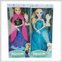 Wholesale Cheap For christmas New year Frozen Musical Doll Anna and Princess Elsa with Olaf with music quot let it go quot Music Toys Snow glow Elsa