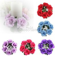 flower candle ring - 10Pcs Large Decorative Floral Ring for Candle Vase Silk Rose Flowers Center Pieces Unity Wedding Party Decoration