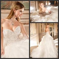 Cheap crystal bridal dresses Best chapel train wedding