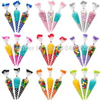 Cheap Polka Dot Cello Cellophane Cone Shaped Sweet Candy Treat Display Favor Gift Wedding Birthday Baby Shower Party Decoration Bags