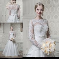 Wholesale 2016 Vintage Wedding Dresses Bridal Gowns Crystals Lace Cheap Sheer Plus Size Spring Modest Long Sleeves Bow Crystals Wedding Ball Gowns