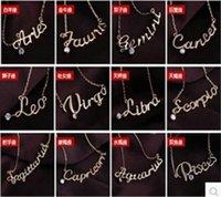 Lettres du zodiaque France-Collier de mode bijoux des femmes 12 signes du zodiaque Lettre Pendentifs Colliers coréenne Mesdames Sautoirs Pull chaîne de bijoux en gros