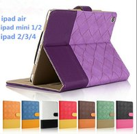 Wholesale For iPad Air Case Flip sleep wake Contrast color Gird Leather case Suede Wallet card cover with stand holder for ipad air mini hot