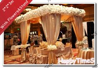 banquet wedding halls - 2 m Luxury Wedding Outdoor Decorations Canopy Curtain In Champagne Colors With Flowers Banquet Reception Hall With Stand