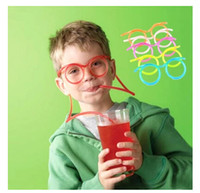 Wholesale HOT Couples Child Fashion Cartoon DIY Drinking Straw Glasses Crazy Straw Glasses Novelty Design Soft Straw Glasses Drinking Tube m0751