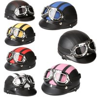 Wholesale Men Women Motorcycle Helmet Bike Bicycle Helmet Scooter Open Face Half Leather Helmet with Visor Goggles Retro cm order lt no track